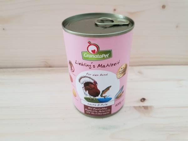 GranataPet Lieblings Mahlzeit Lachs & Pute mit Kartoffel, Hagenbutten, Petersilie und Nachtkerzenöl