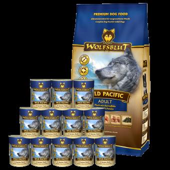 Wolfsblut Wild Pacific ADULT Kombipaket 15kg Trockenfutter / 12 x 395g Nassfutter